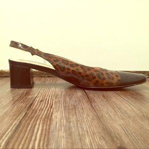 Ferragamo Cheetah Cap-Toe Slingback Pumps